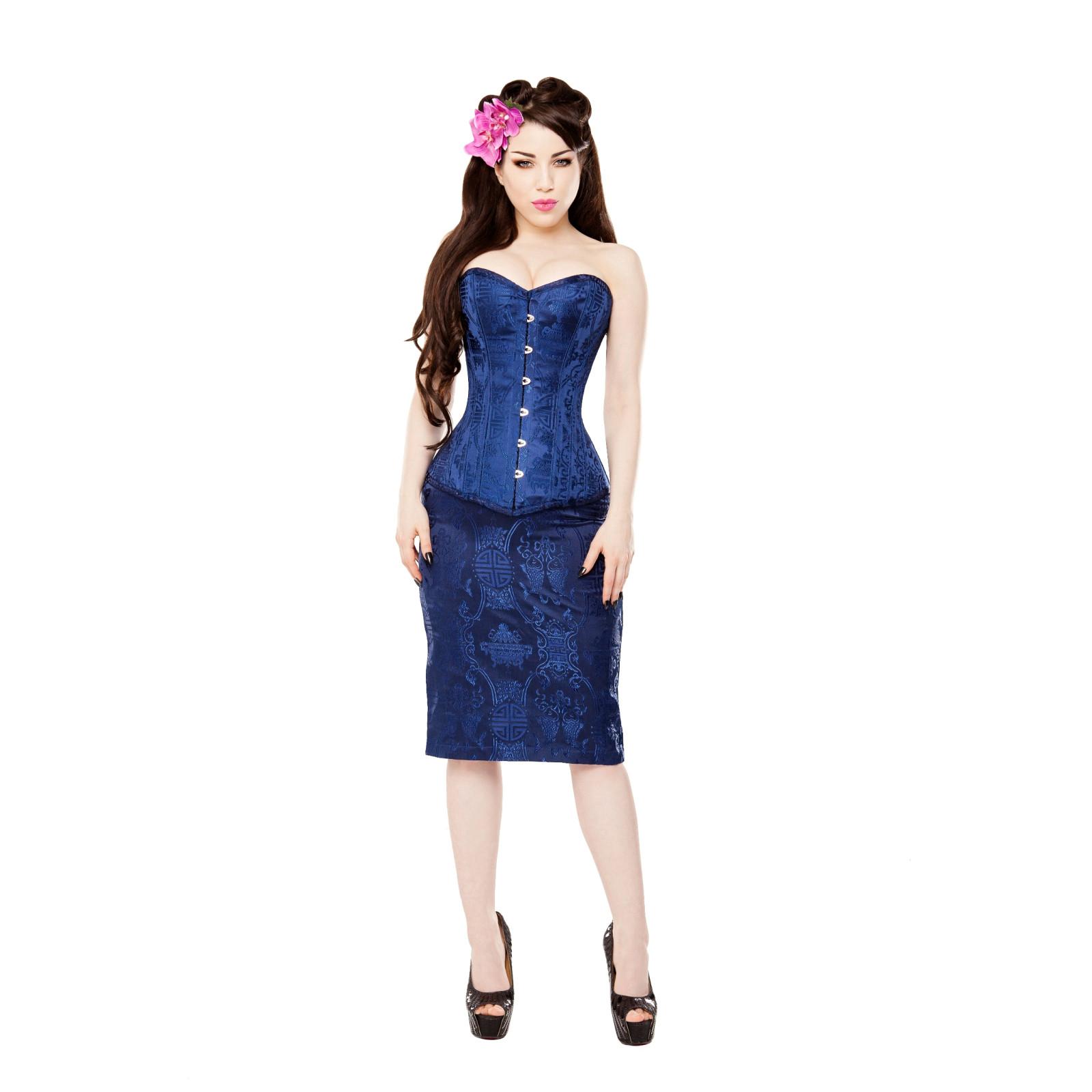 714208f09a Royal Blue Brocade Corset & Blue Skirt