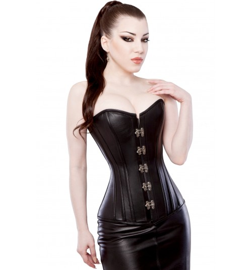Details about  /Overbust Bustier Steel Boned Heavy Back Lacing Real Leather Black Purple Corset
