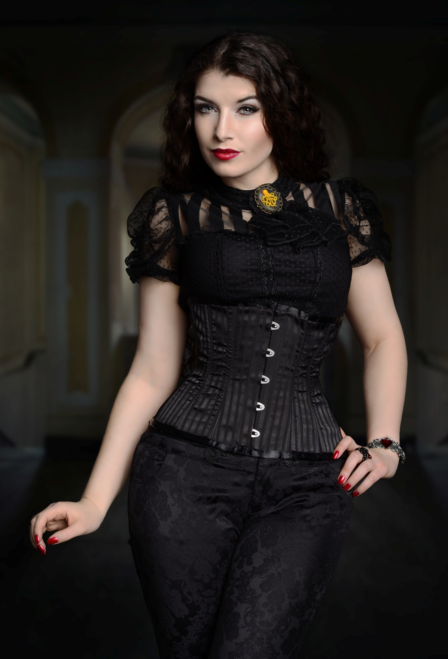 Steel Boned Black Woven Shadow Stripe Cincher Corset