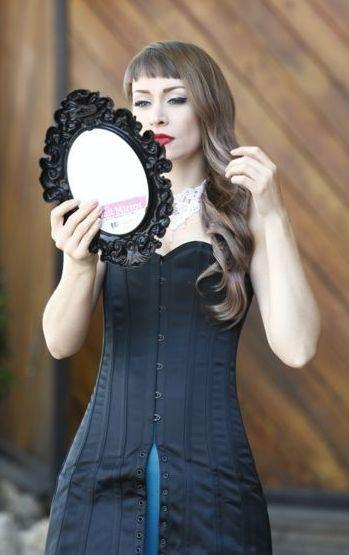 Kinnaird Ireland Black Duchess Satin Steel Boned Mini Corset Dress