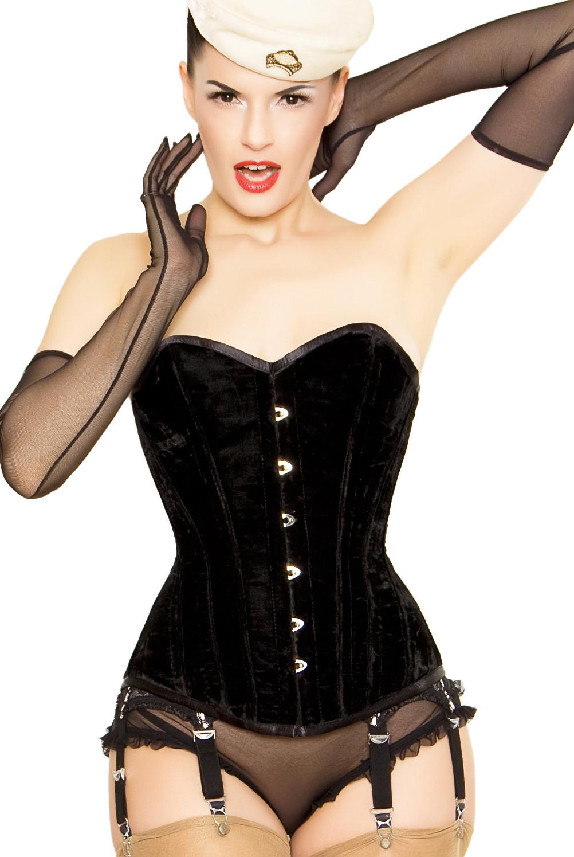 Playgirl Black Corset In Lush Velvet Corset