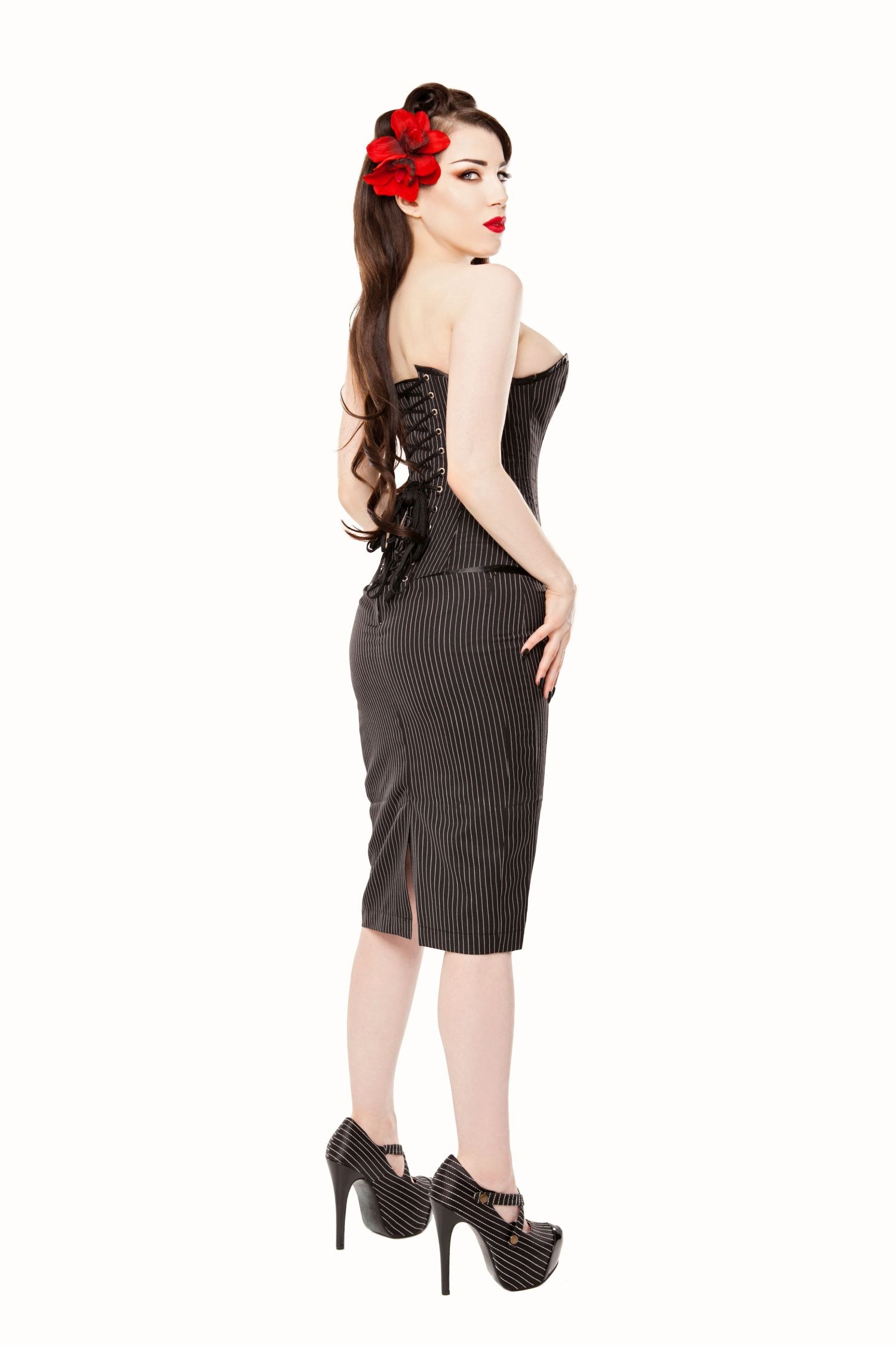 Playgirl Long Black Pinstripe Pencil Skirt