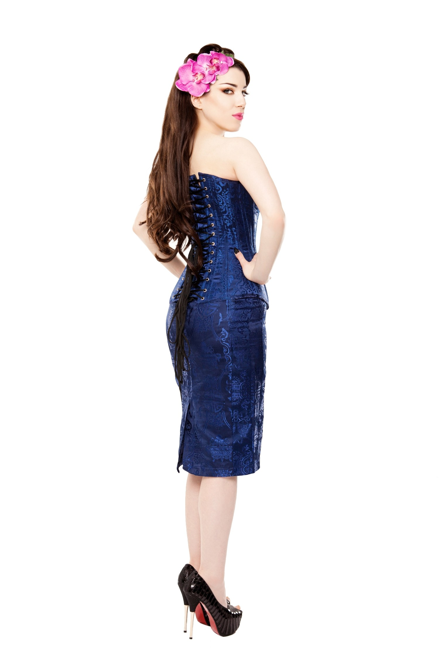 Playgirl Long Royal Blue Brocade Pencil Skirt