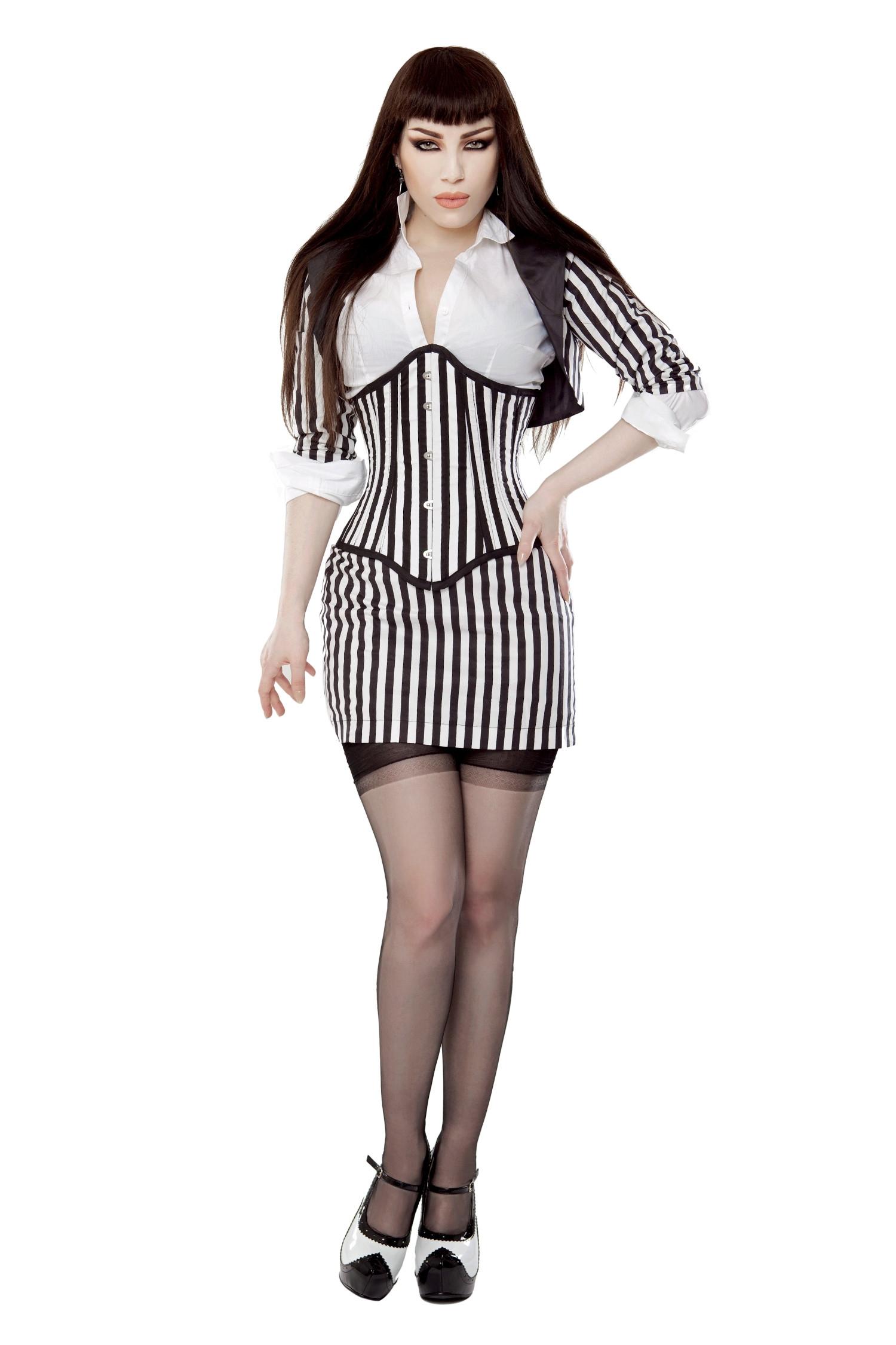 Playgirl Black & White Fitted Bolero Shrug Top