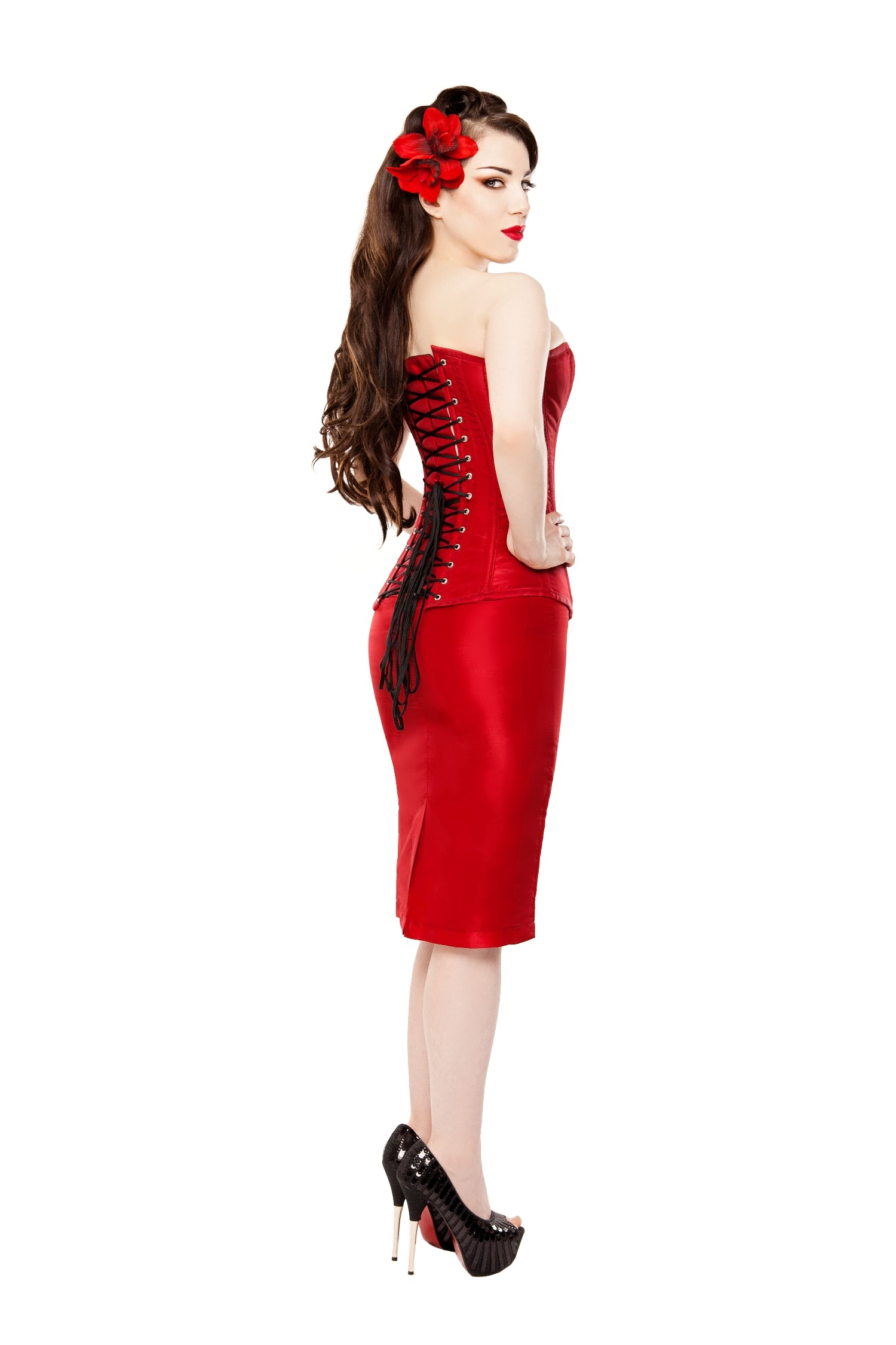 Playgirl Long Red Tafetta Pencil Skirt