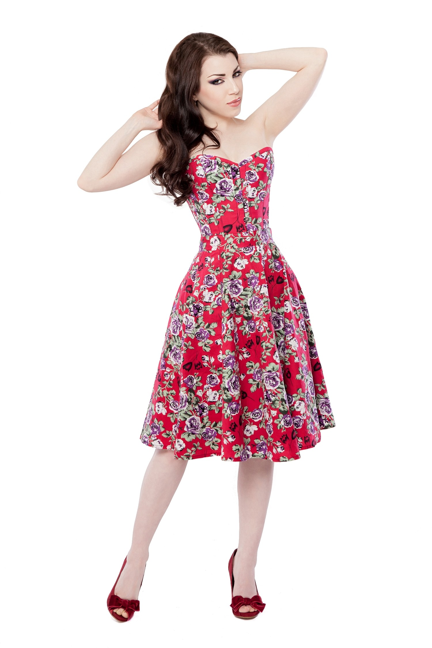Playgirl Red Floral Circle Skirt