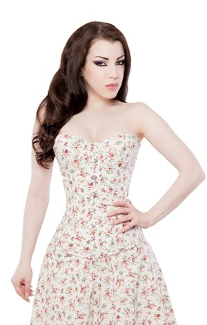 Playgirl Ivory Floral Overbust Steel Boned Corset