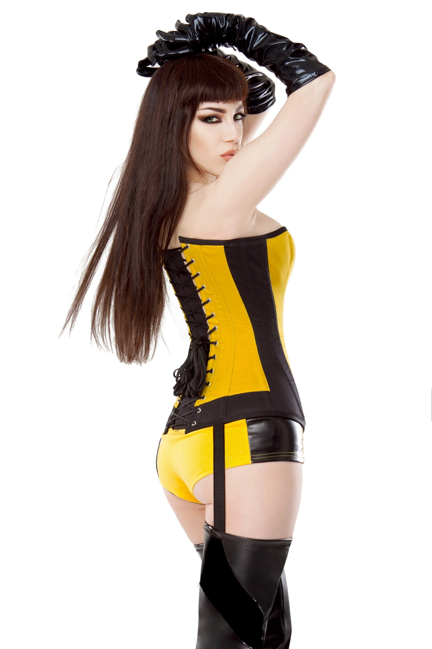 Playgirl Yellow & Black Silk Spectre Shorts