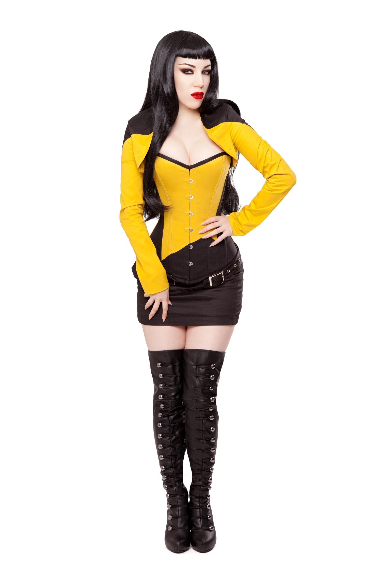 Playgirl Black & Yellow Cotton Bolero Shrug Top