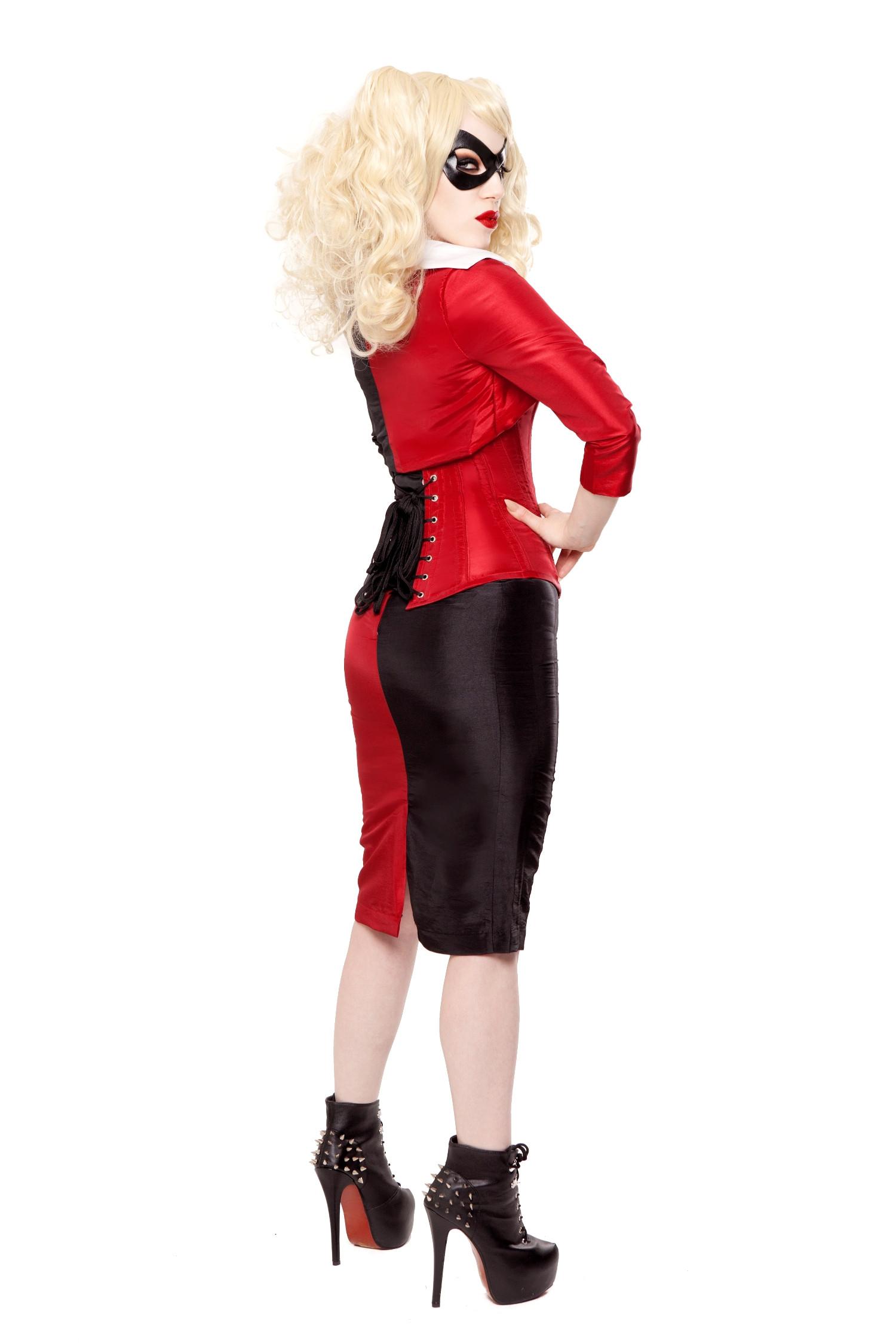 Playgirl Black & Red Tafetta Long Pencil Skirt