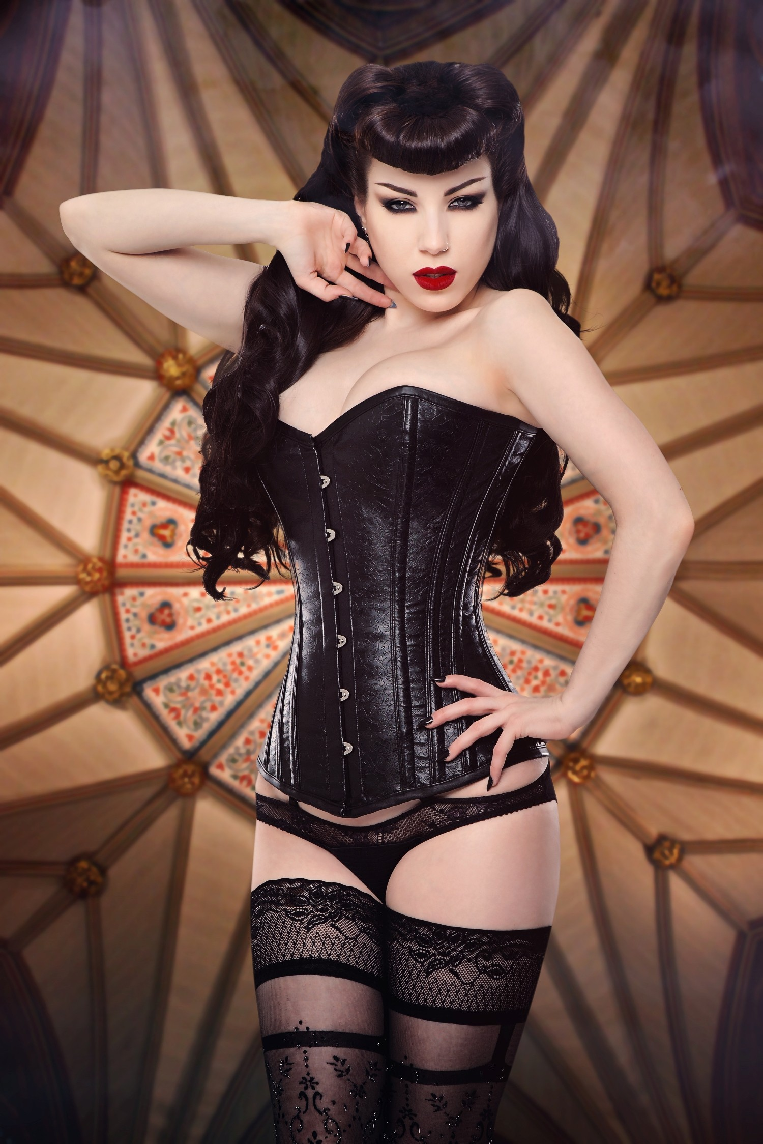 Long Embossed Faux Leather Overbust  Steel Boned Corset