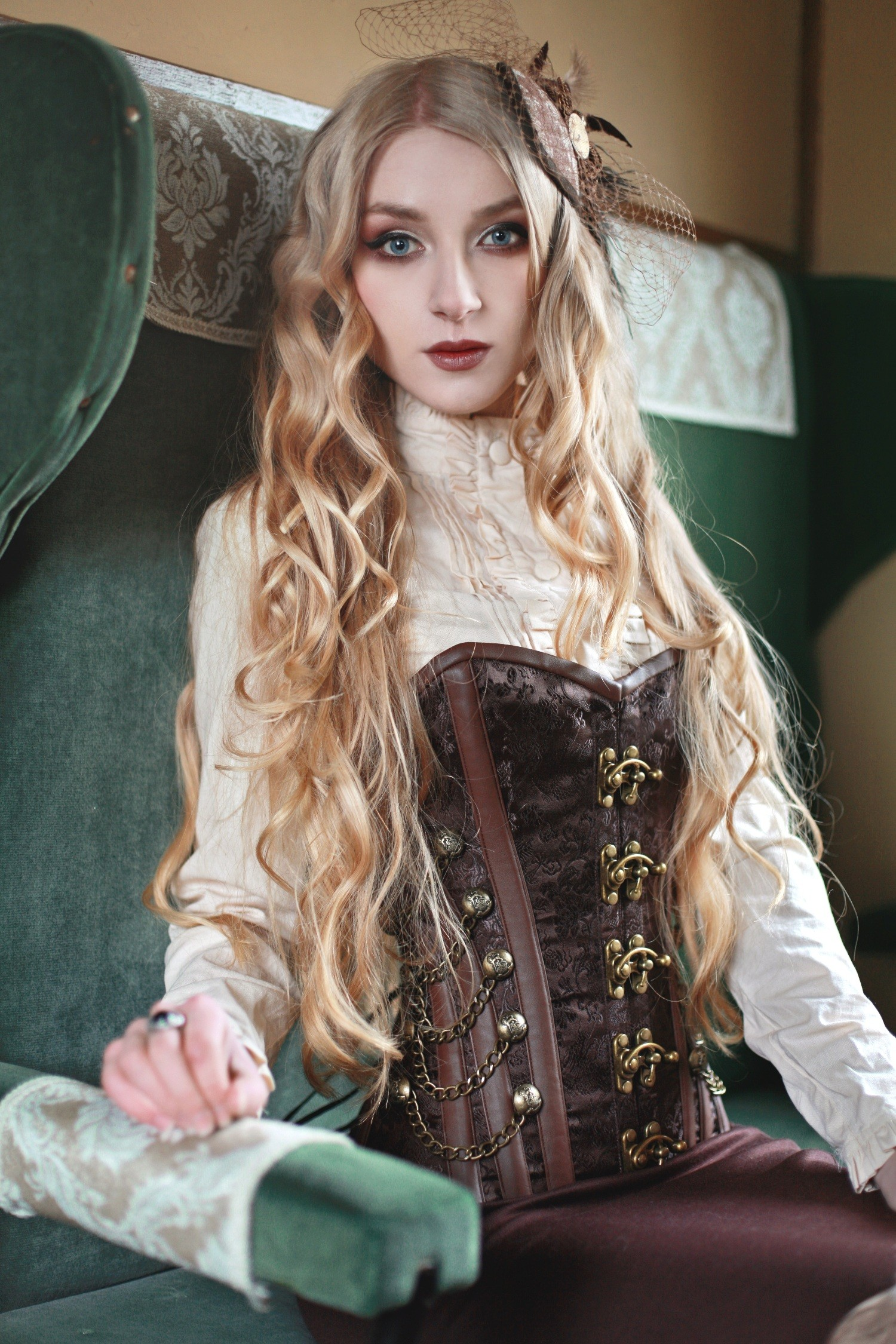 Playgirl Steel Boned Steampunk Corset With Vintage Brass