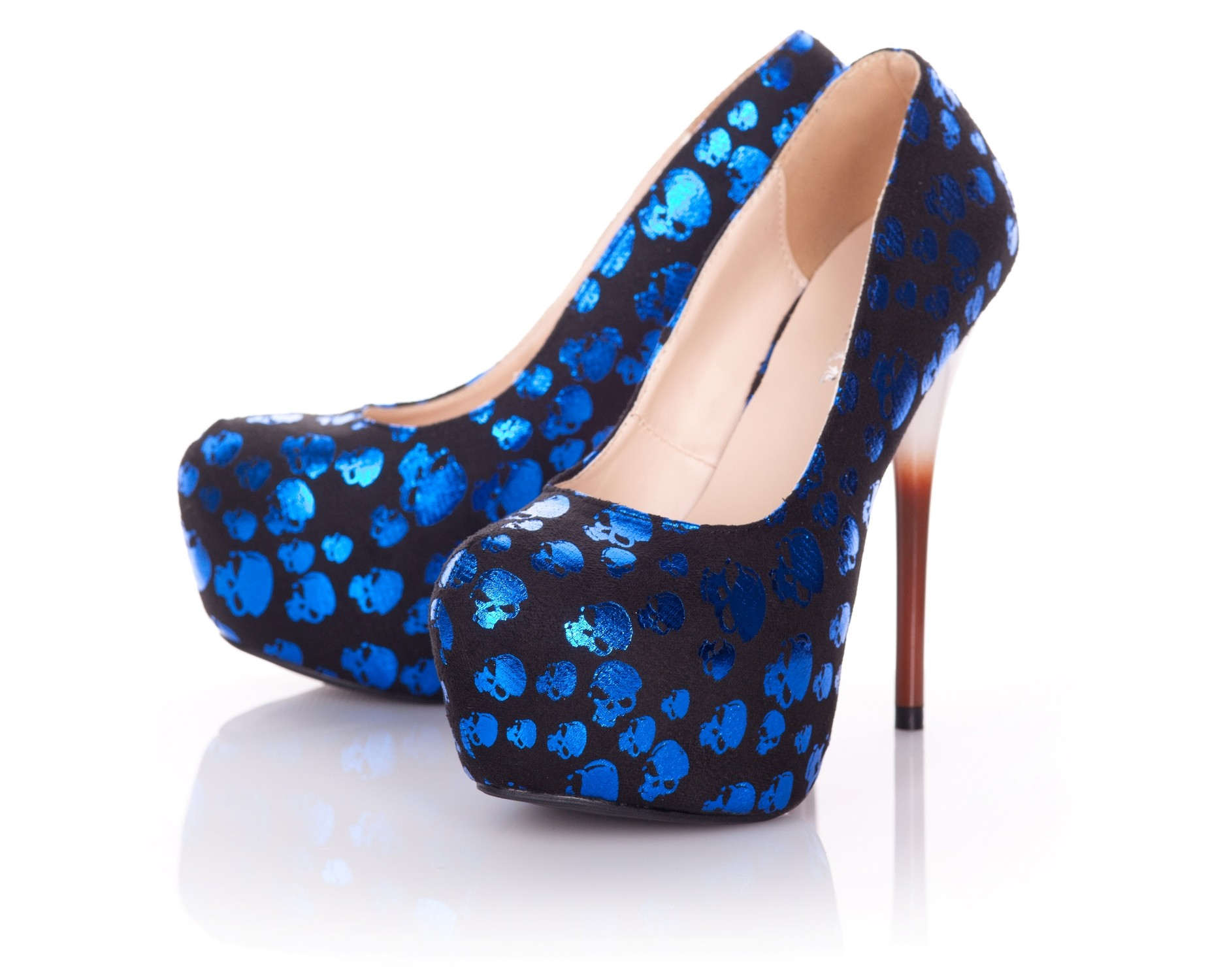 Playgirl Shiny Blue Skull Shoes