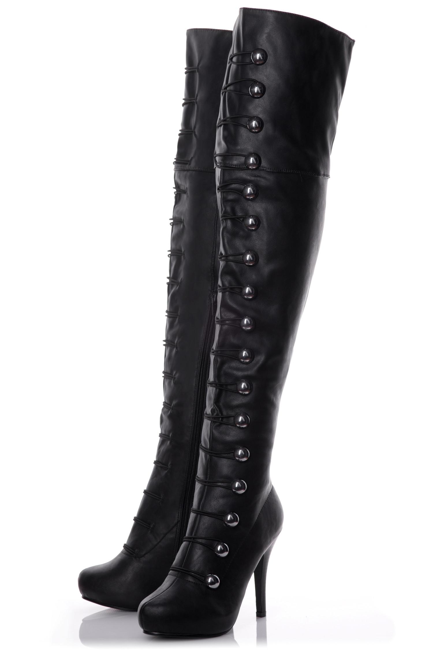 Playgirl Over The Knee Black Matt Button Detail Boots