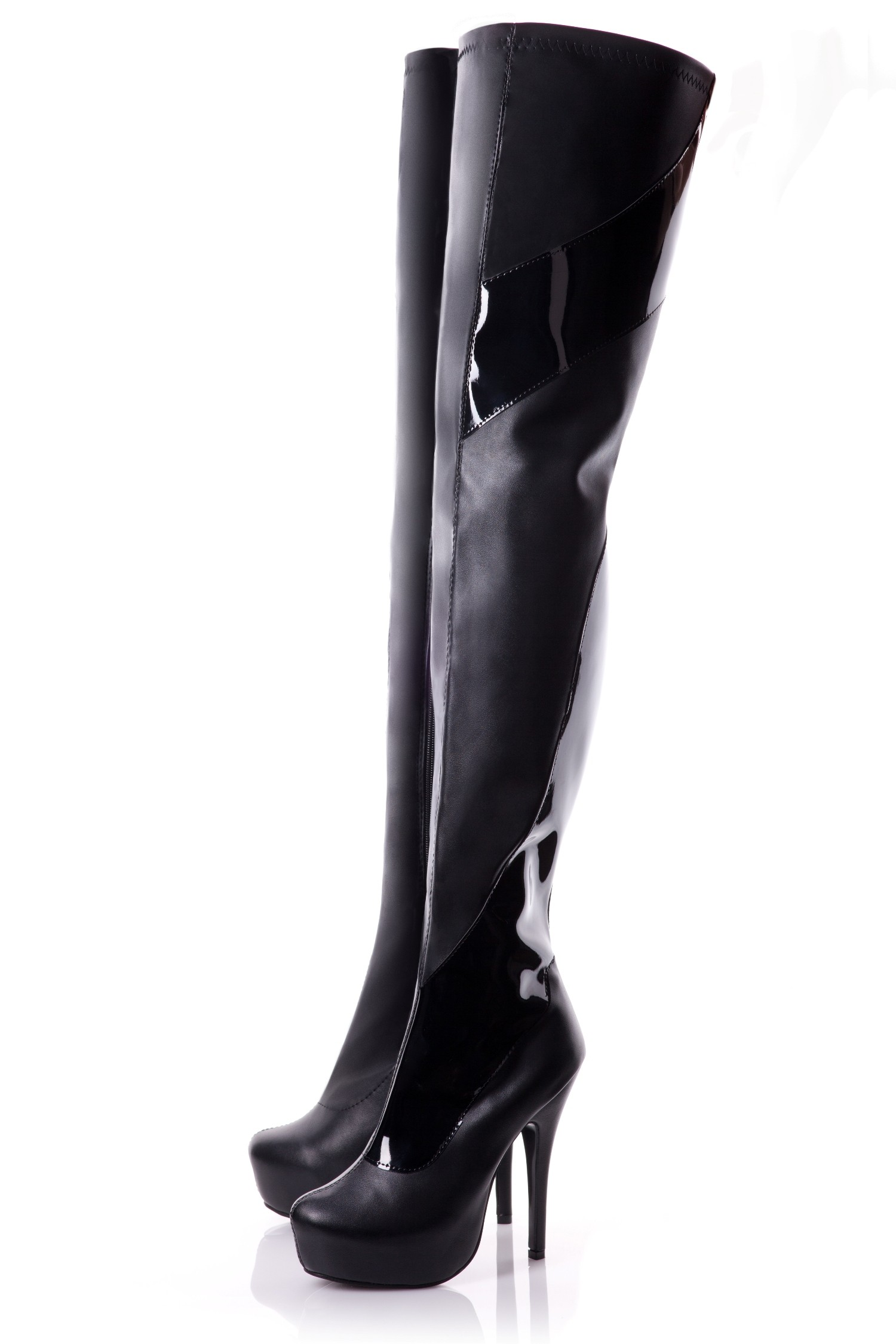 Playgirl Crotch High Black Matt Boots With Patent Detail
