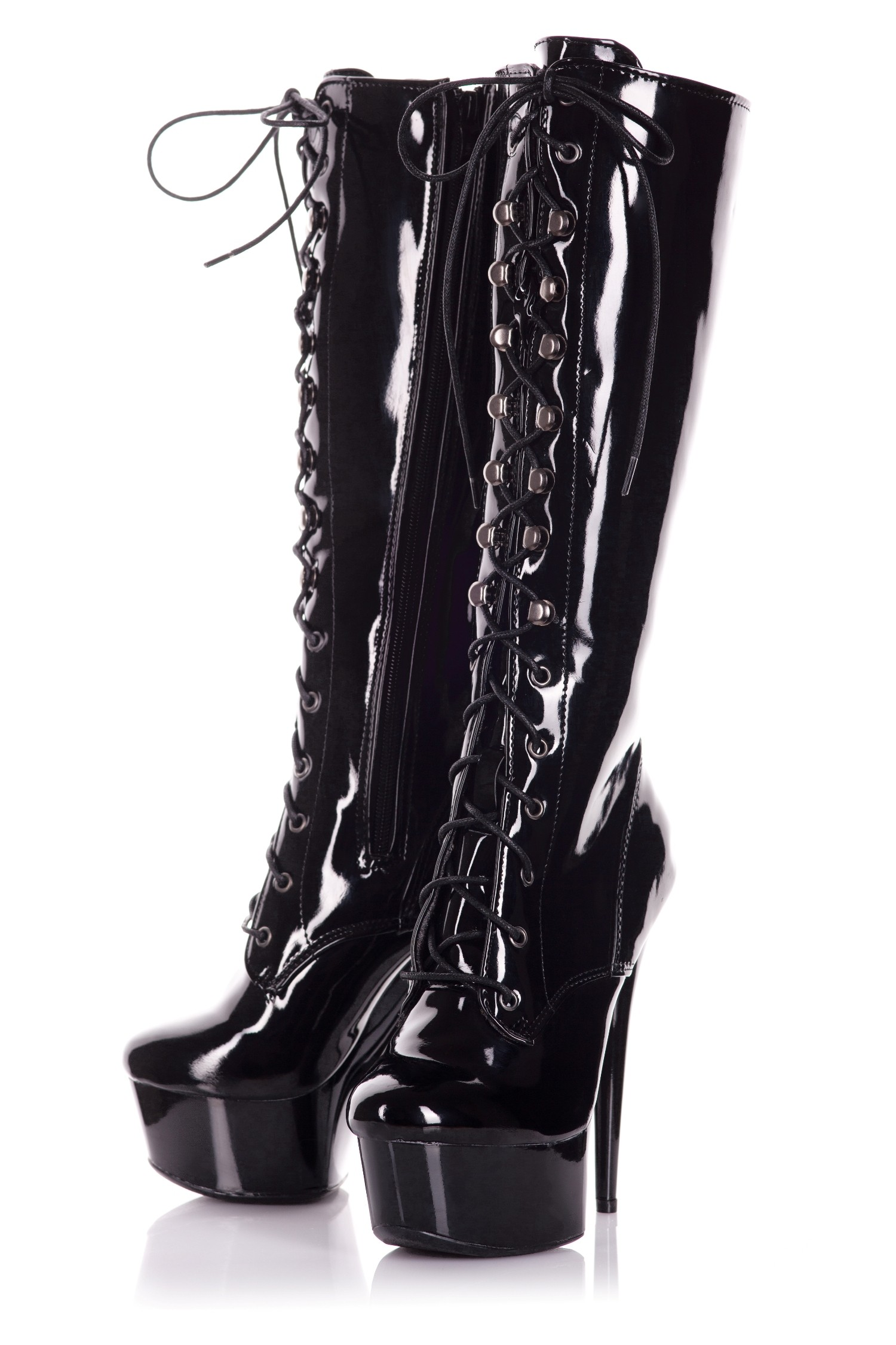 Playgirl Knee High Black Patent Lace Up Boots