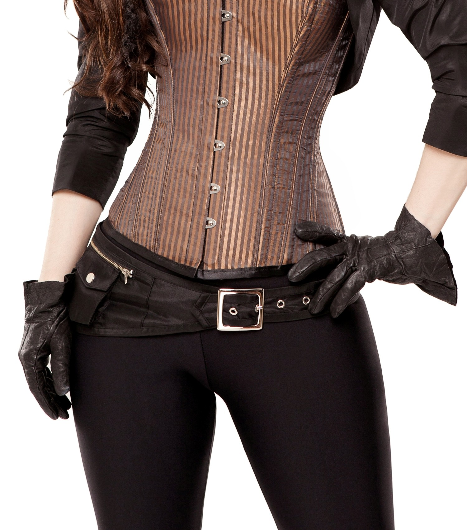 Playgirl Black Tafetta Corset Belt With Pockets