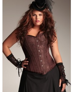 Plus Size Arabella Chocolate Brown Steel Boned Corset