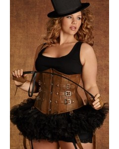 Ringmaster or Ringmistress Tan Leather Corset
