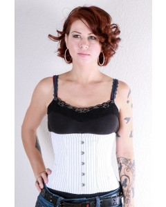 Playgirl Steel Boned Woven Pinstripe Cincher Corset In White