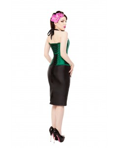 Playgirl Long Black Tafetta Pencil Skirt