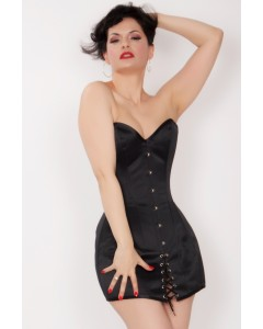 Kinnaird Ireland Black Duchess Satin Steel Boned Mini Corset Dress