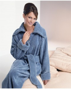 Fluffy Chenille Zip Dressing Gown