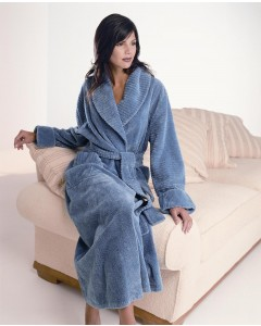 Fluffy Cotton Chenille Shawl Collar Wrap Over Robe