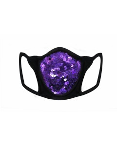 Purple Sequin & Lycra Face Mask With Filter
