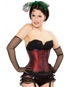 Playgirl Steel Boned Shadow Stripe Red Underbust Corset