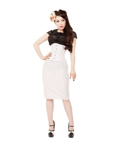White Pinstripe Corset & Pencil Skirt With Shoes