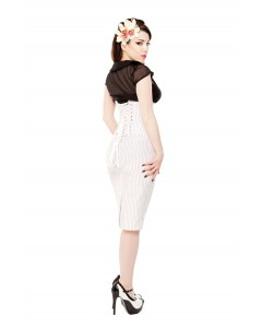 Playgirl Long White Pinstripe Pencil Skirt