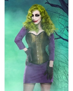 Green Corset With Purple Bolero & Skirt Outfit