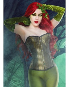 Playgirl Steel Boned Corset In Beautiful Green Shadow Stripe