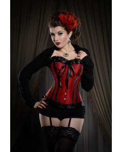 Playgirl Ruby Red & Black Steel Boned Corset With Ribbon