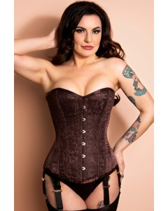 Playgirl Nina Chocolate Brown Long Length Steel Boned Corset