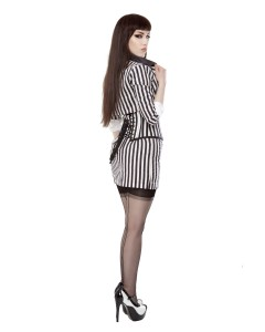 Playgirl Black & White Stripe Short Pencil Skirt