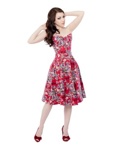 Red Floral Corset Dress With Long Corset