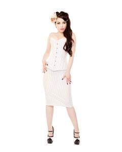 White Pinstripe Corset & Pencil Skirt