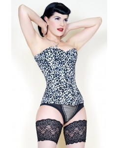 Playgirl Grey Leopard Print Long Steel Boned Nina Corset