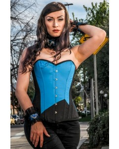Playgirl Long Overbust Black & Blue Steel Boned Corset