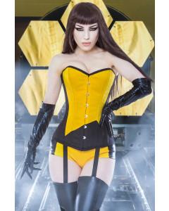 Playgirl Long Overbust Black & Yellow Steel Boned Corset