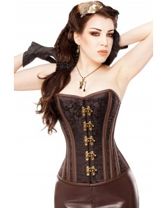 Playgirl Brocade & Brass Steampunk Steel Boned Corset
