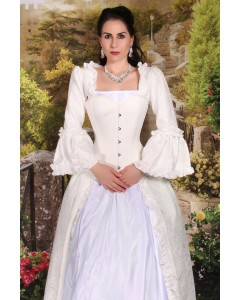 Period Inspired Nina Overbust Ivory Steel Boned Bridgerton Corset