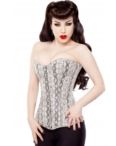 Playgirl Long Faux Snake Skin Steel Boned Corset - Special Offer
