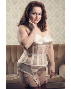 Plus Size Isabella Peach 24 Bone Waist Training Mesh Cincher Corset