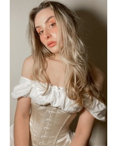 Bridgerton Period Peach Minnie Steel Boned Corset