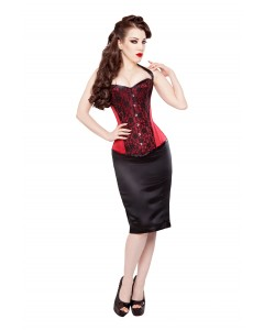 Satin Corset With Black Lace & Pencil Skirt
