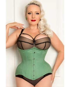 Curvella Long 24 Bone Mint Cotton Waist Training Corset