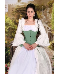 Bridgerton Period Costume With Curvella Long Mint Cotton Waist Training Corset